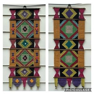 Vintage southwestern hand woven wall tapestry